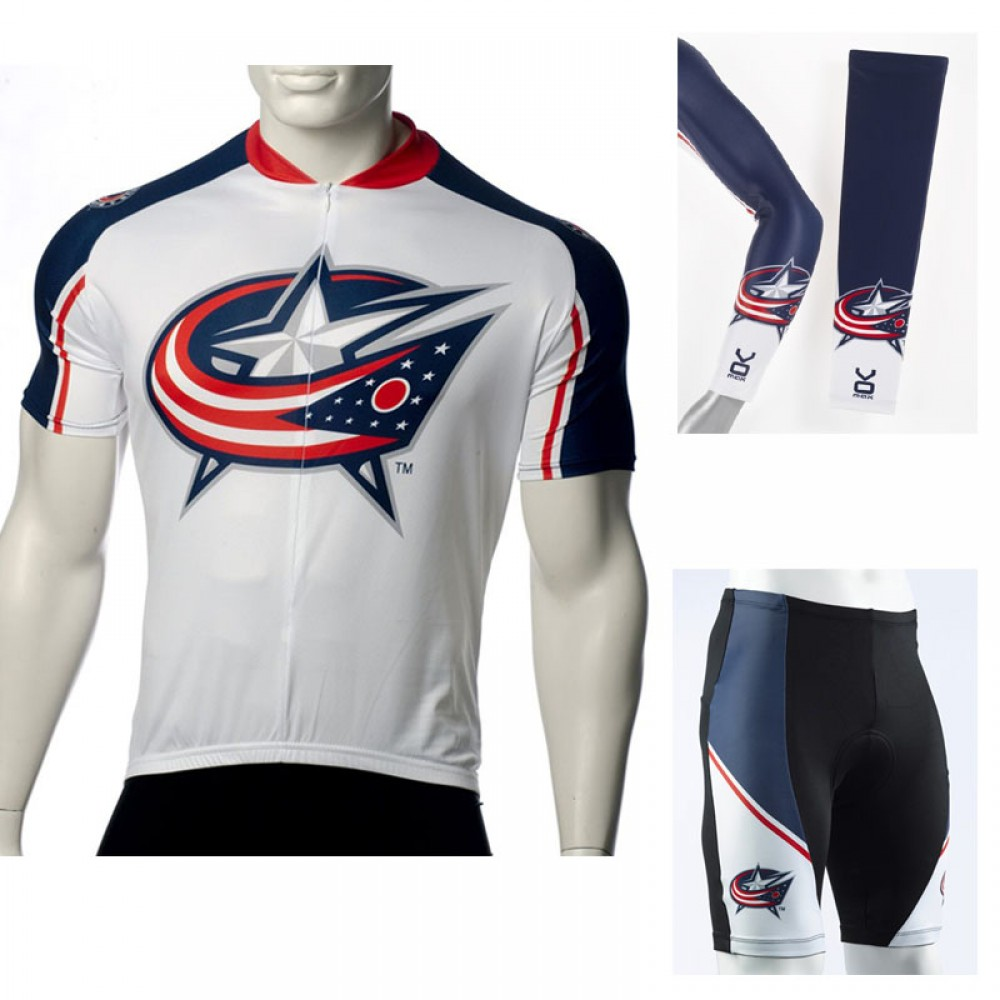 NHL Columbus Blue Jacket Cycling Jerseys Bib Shorts Arm Warmers
